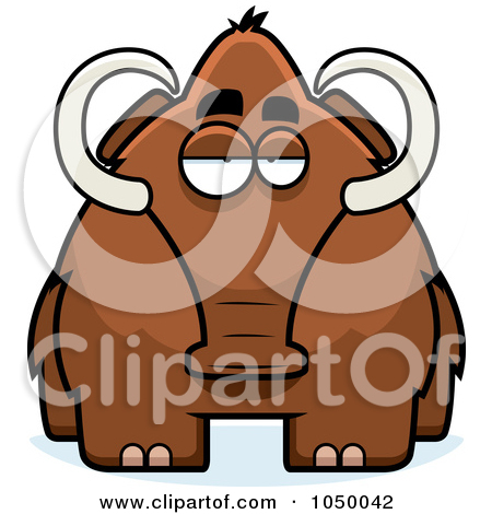 Clipart Vintage Black And White Wooly Mammoth 2.