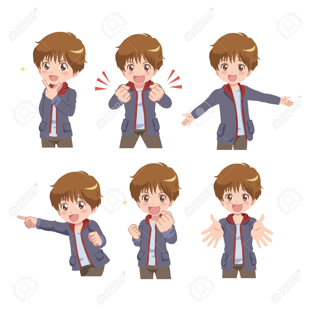 Manga Styled Boy With Multiple Poses Royalty Free Cliparts.