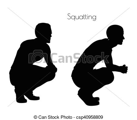 Vector Clipart of man in Sitting Squatting pose on white.