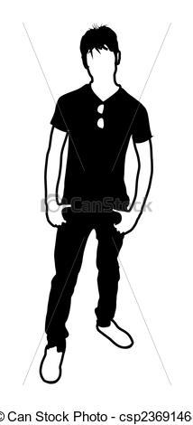 Clip Art Vector of Young Boy Standing Pose Vector Silhouette.
