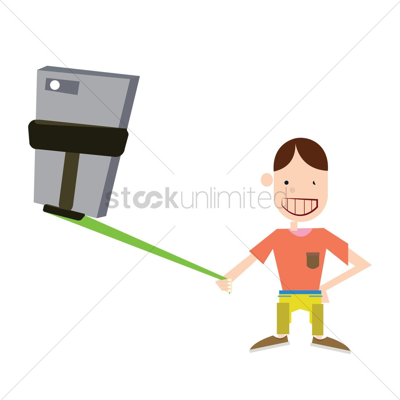 Free Boy posing for a selfie Vector Image.
