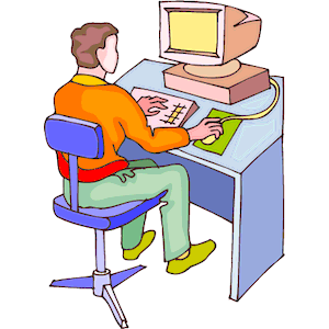 Man at Computer 3 clipart, cliparts of Man at Computer 3.