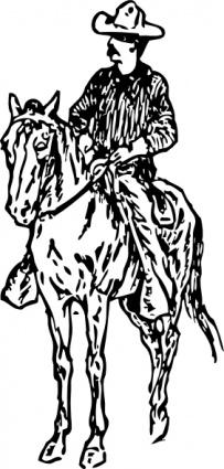 Man on a horse clipart.