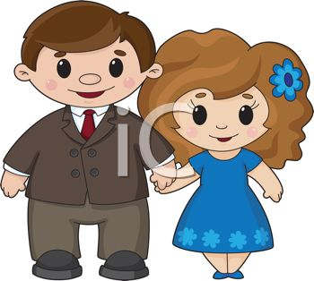 Cute Cartoon Man and Woman Holding Hands in Love.