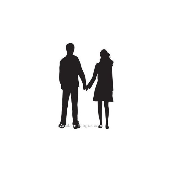 Clipart Man And Woman Holding Hands Silhouette.