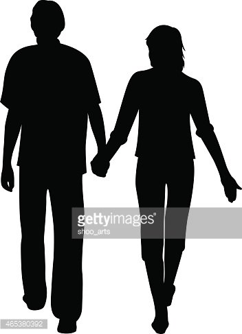 Man and Woman Holding for Hands Vector stock vectors.