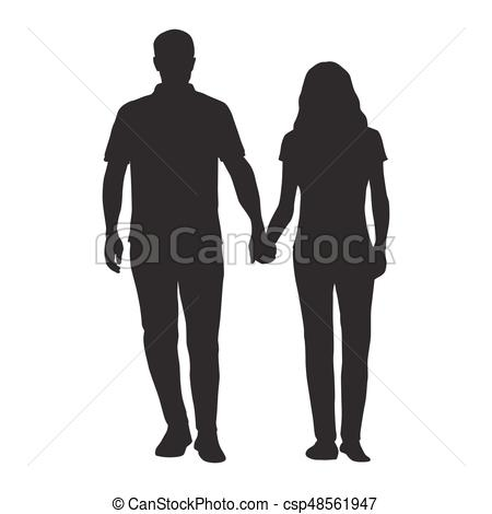 Couple holding hands, man and woman dating, vector silhouette. People in  love.
