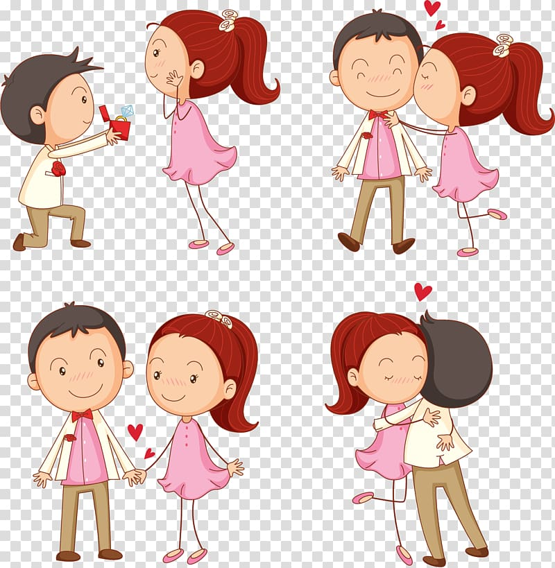 Woman kissing man illustration, Kiss Cartoon Boy.