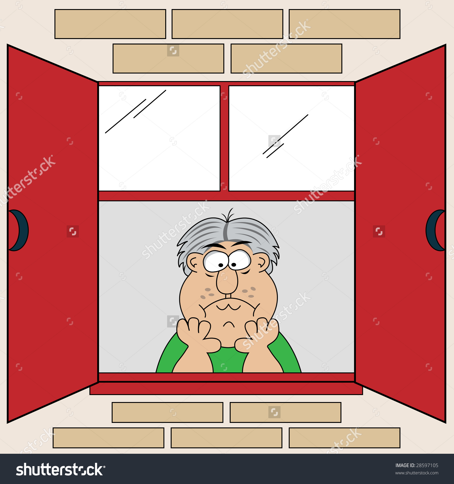 Bored Old Man Looking Out Window Stock Illustration 28597105.