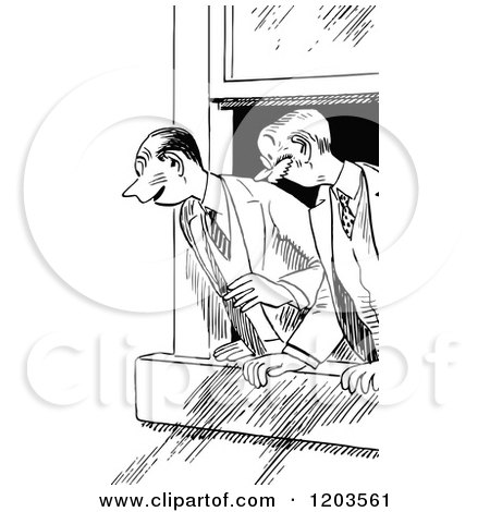 Cartoon of Vintage Black and White Excited Men Looking out a.