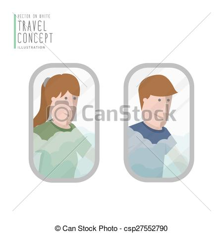 EPS Vectors of A man and a woman looking out the airplane window.
