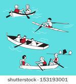 Man And Woman Riding In A Boat Clipart.