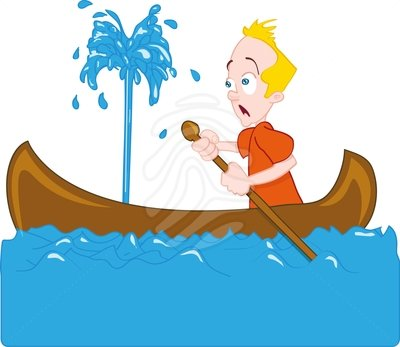 Man And Women In A Sinking Boat Clipart.