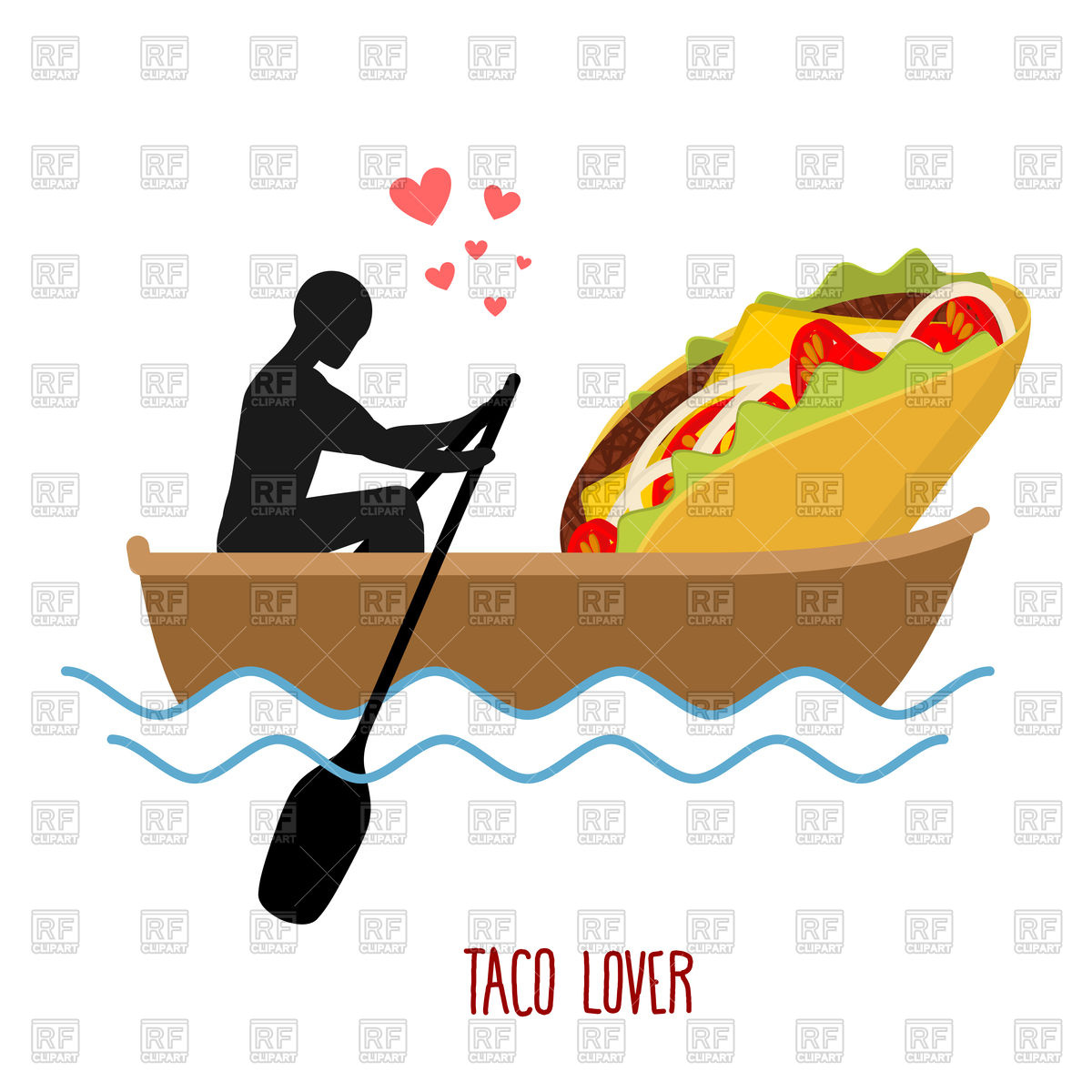 Love in boat, man and taco ride in boat Vector Image #130784.