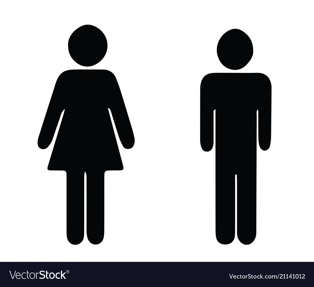Black silhouette man and woman.