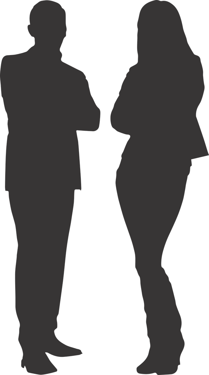 Silhouette Man and Woman transparent PNG.