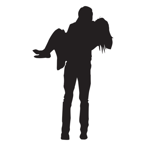 Man carrying woman silhouette.