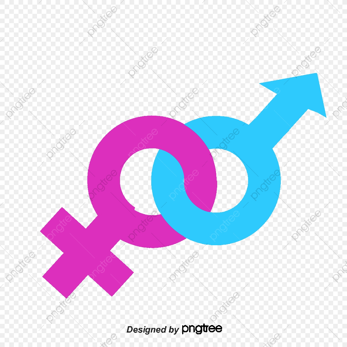 Male And Female Symbols, Men And Women, Symbol, Overlapping.