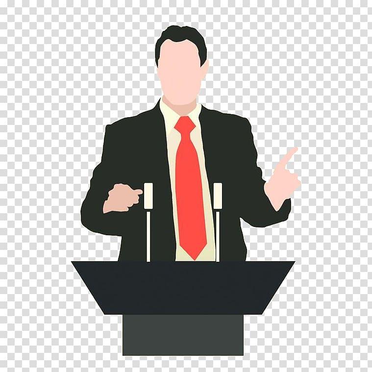 Man in black suit illustration, Microphone Podium Person.