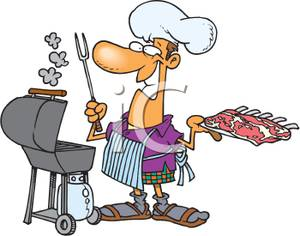 Man Barbecuing.