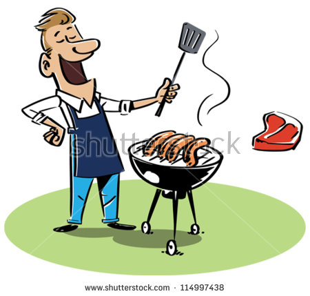 Man Grilling Stock Images, Royalty.