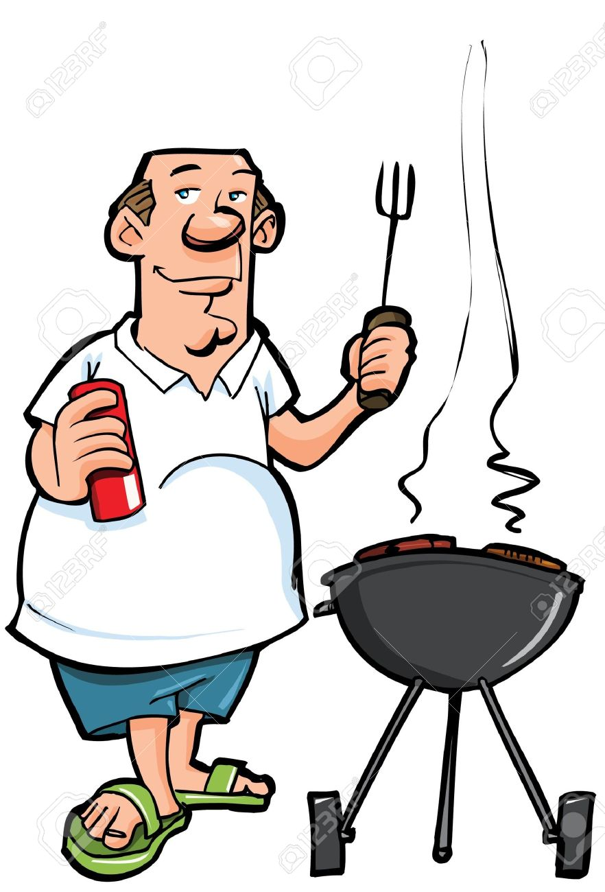 Man Barbecuing Clipart.