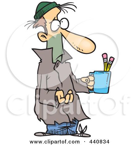 Cartoon Poor Man Begging With.