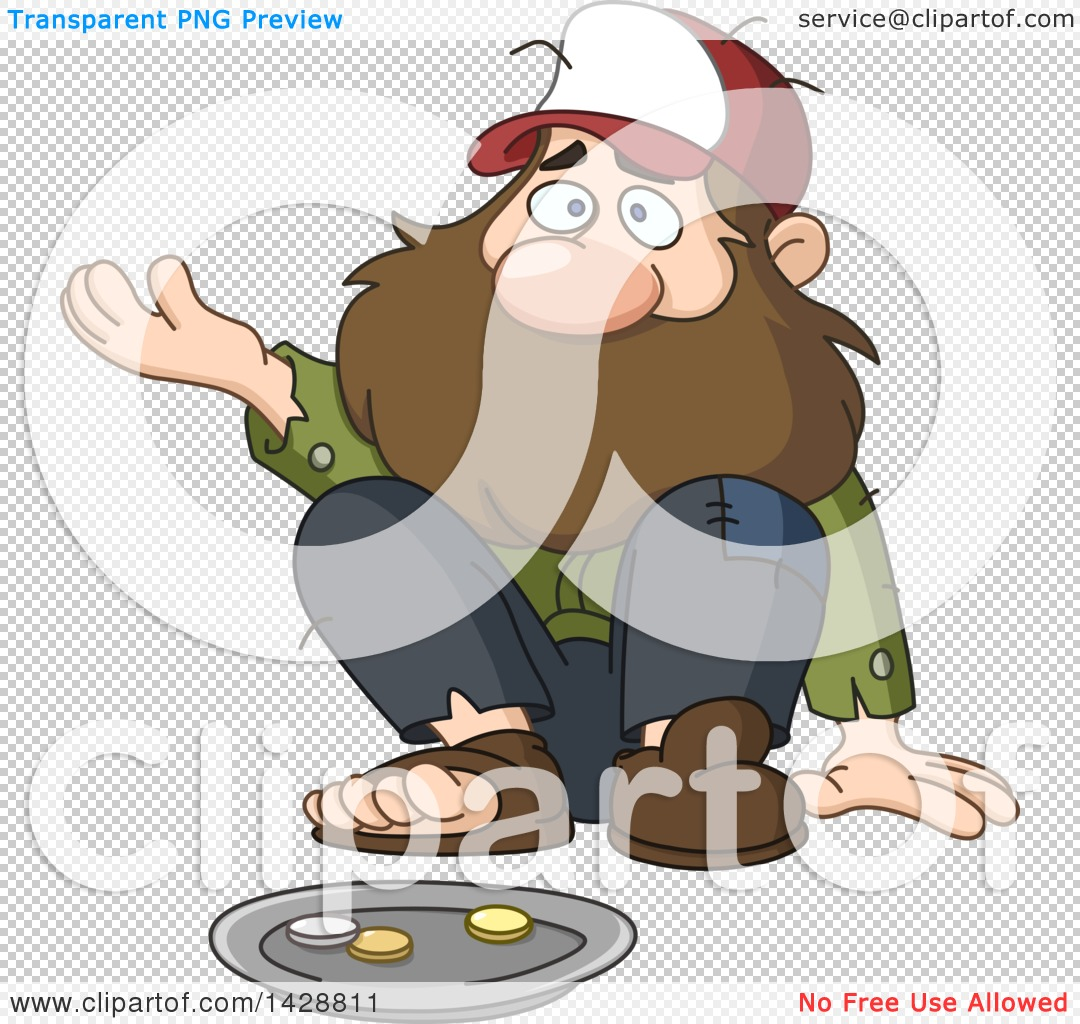 Clipart of a Cartoon Bearded Caucasian Homeless Man Begging.