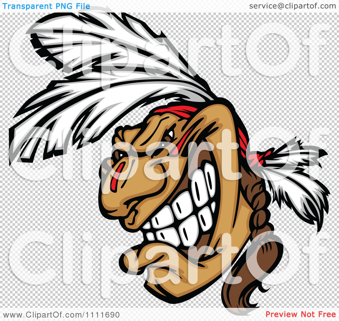 Clipart Native American Indian Brave Man With Feathers And A Braid.