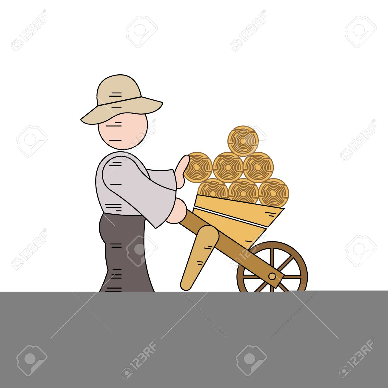 Cartoon Character Of A Woodcutter Carrying Logs Vector.