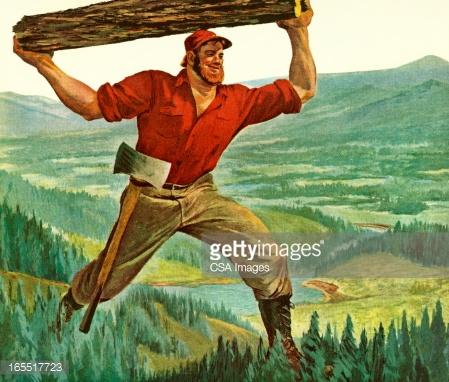 Man Carrying Log Vector Art.
