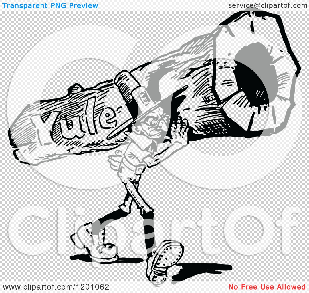 Clipart of a Vintage Black and White Man Carrying a Yule Log.