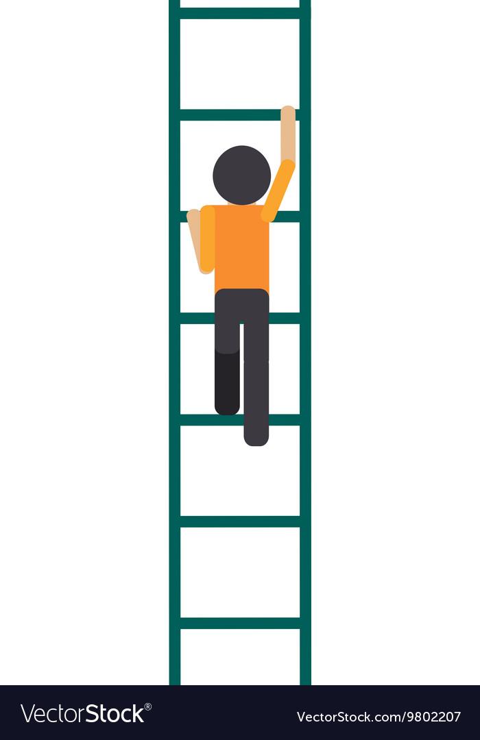 Man climbing ladder icon.