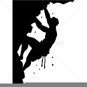 Man Climbing A Mountain Clipart.