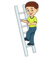 Boy Climbing Ladder Clipart.