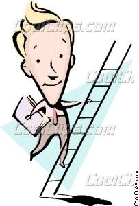 Cartoon man climbing ladder Vector Clip art.