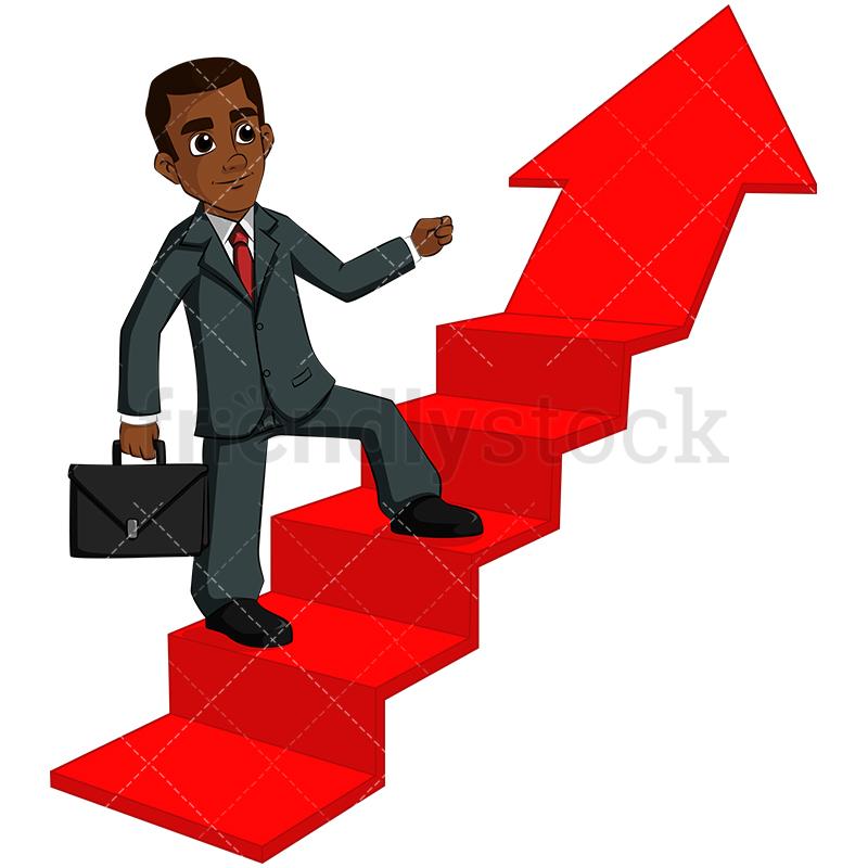 A Determined Black Businessman Climbing A Stair Shaped Arrow.