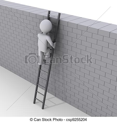 Stock Illustrations of 3D Man Climbing Ladder over wall.
