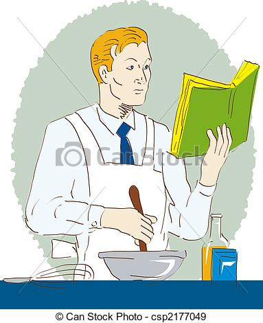 Stock Illustration of Man cooking while reading.