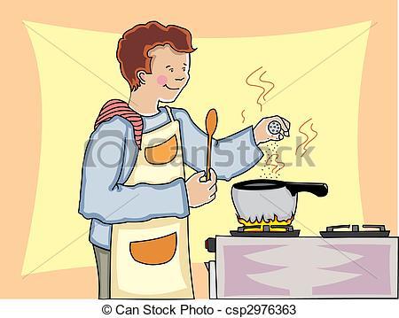 Clip Art Vector of Man cooking.
