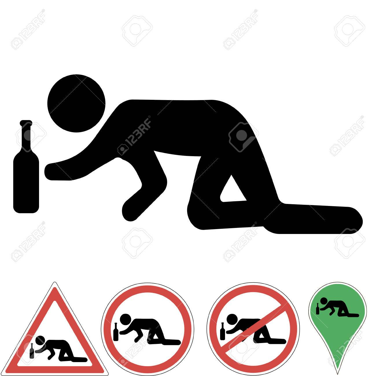 Icon A Drunk Man Crawling On His Knees For A Bottle Of.