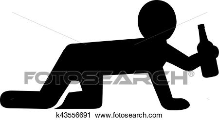 Crawling man on all fours with beer bottle Clipart.