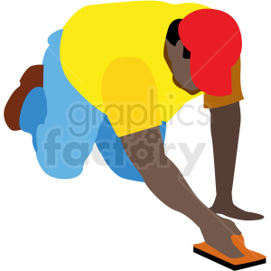 black man working on concrete vector clipart . Royalty.