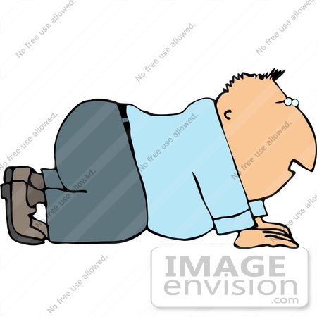 12624 Man Crawling Clipart by.