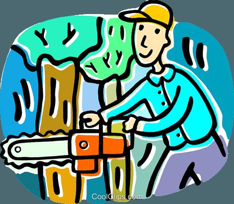 man cutting down a tree Royalty Free Vector Clip Art.
