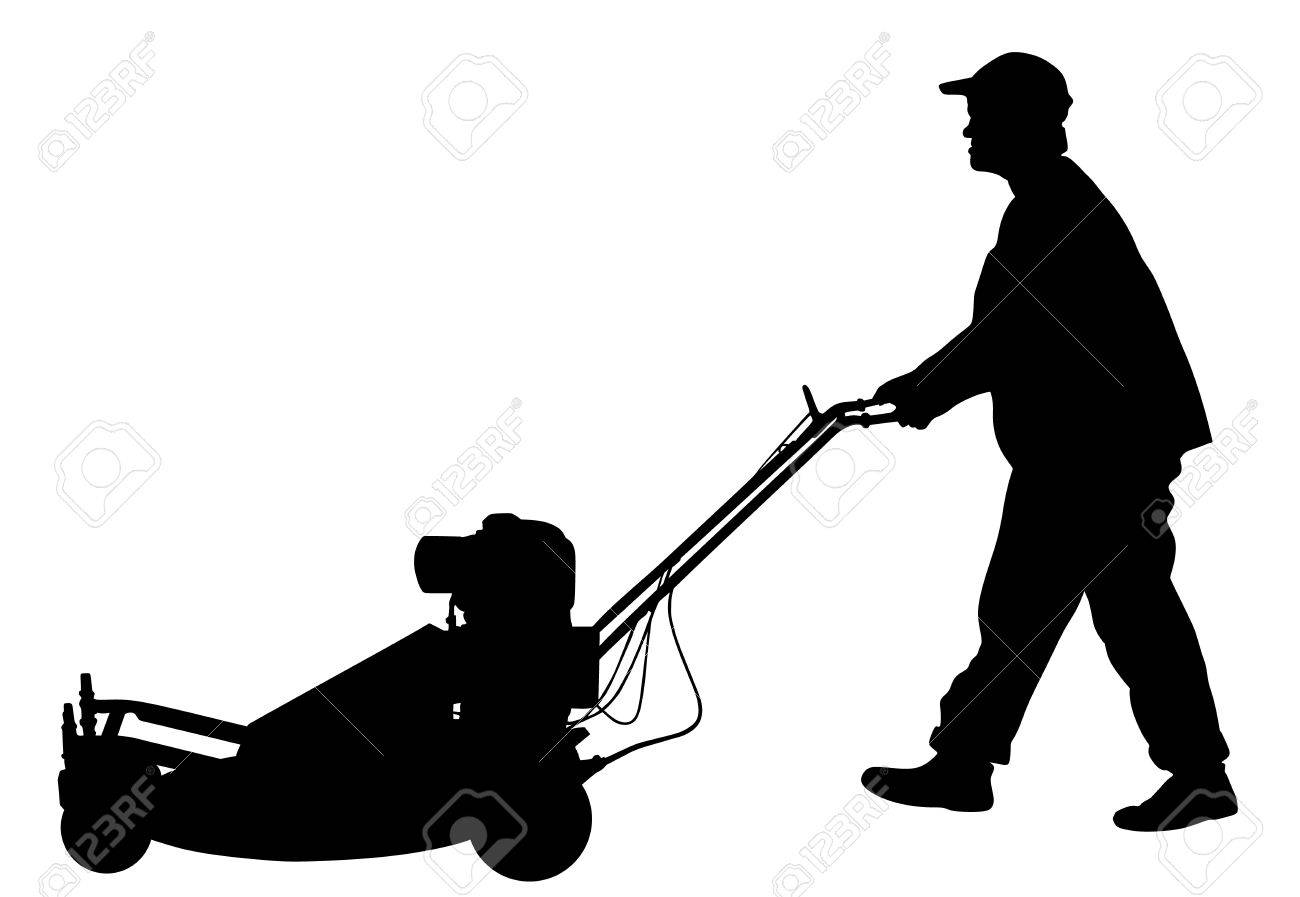Gardener man mowing lawn mower vector silhouette illustration.