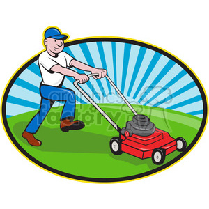 man mowing lawn clipart. Royalty.