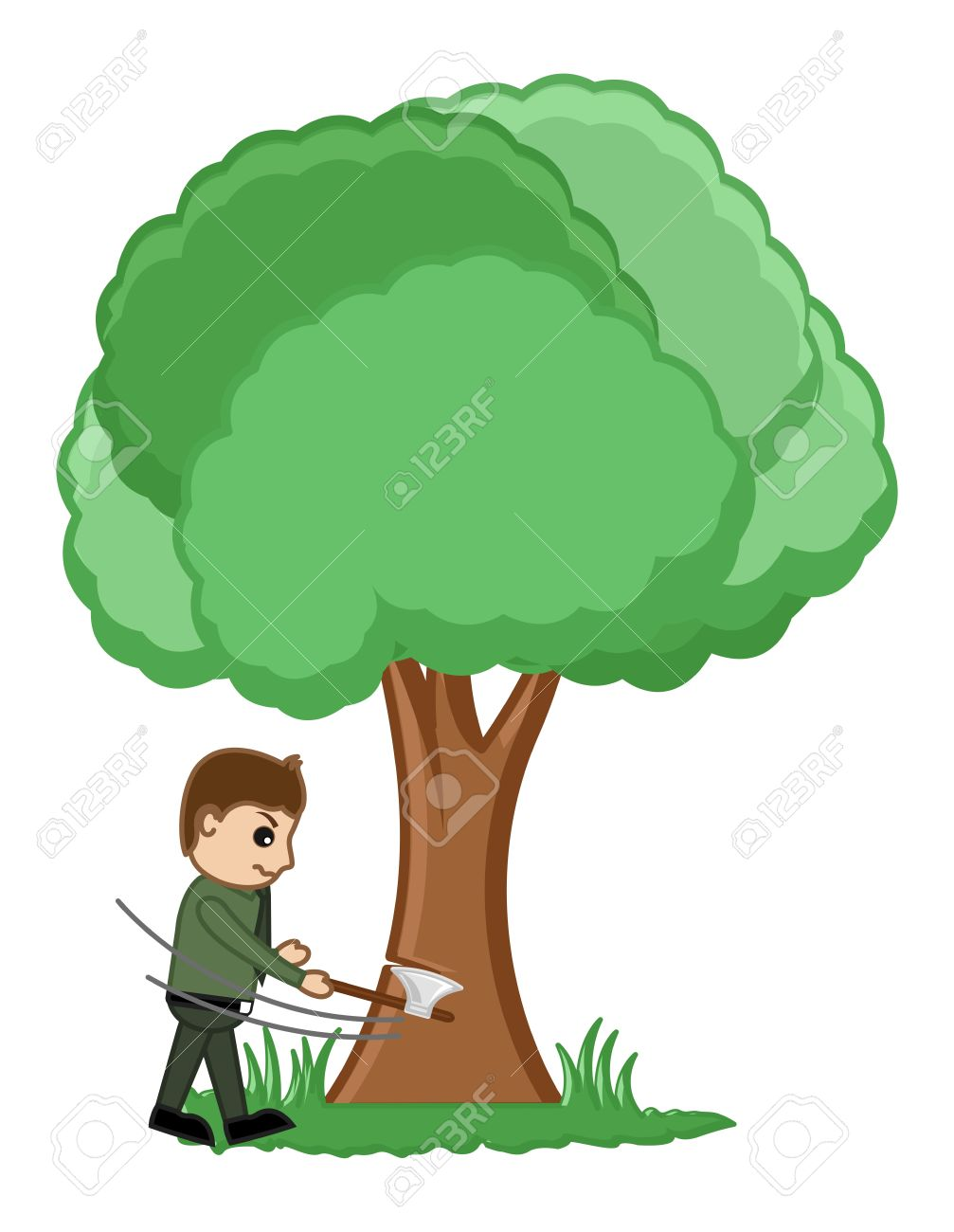 Man Cutting Tree Illustration Royalty Free Cliparts, Vectors, And.