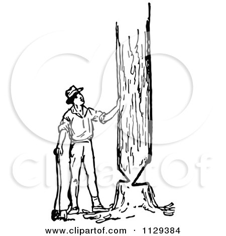 Clipart Of A Retro Vintage Black And White Lumberjack Man Cutting.