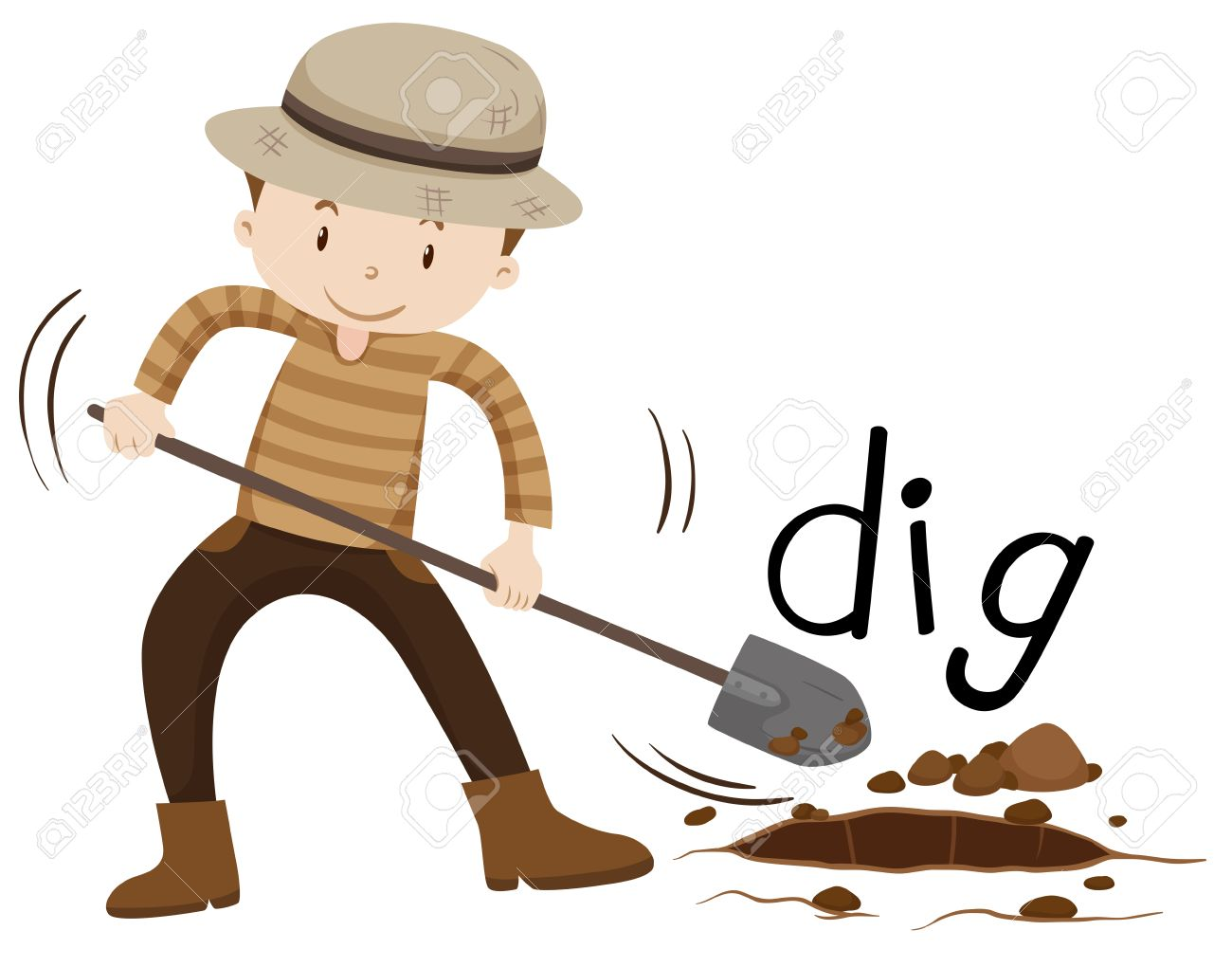 Man with shovel digging a hole illustration.